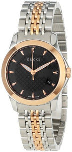 Gucci Women's YA126512 Gucci timeless Steel and Pink PVD Black Dial Watch