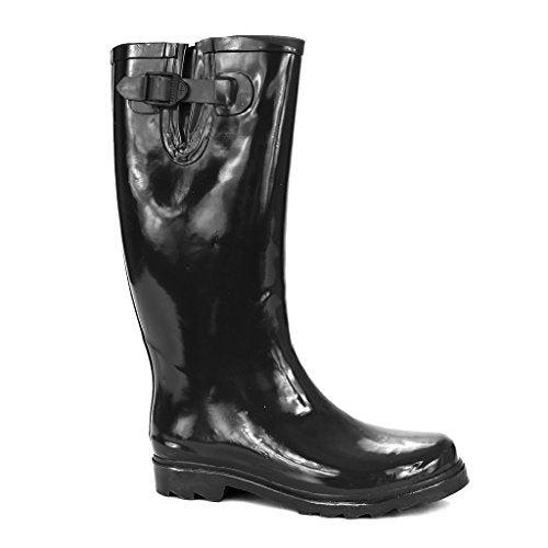 Twisted Women's DRIZZY Tall Cute Rubber Rain Boots- DRIZZY01 BLACK, Size 8