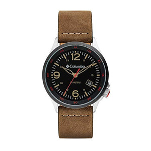 Columbia Canyon Ridge Stainless Steel Quartz Watch with Leather Strap, Brown, 10 (Model: CSC02-001)