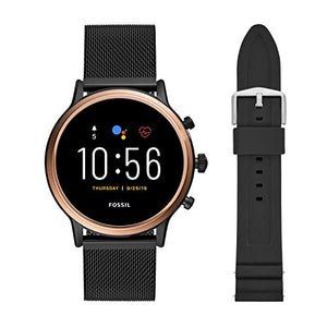 Fossil Gen 5 Julianna HR Heart Rate Stainless Steel Mesh Touchscreen Smartwatch, Rose Gold, Smoke & 22mm Silicone Watch Band, Black