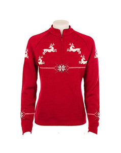 Norlender Women's Red 100% Norwegian Wool Reindeer Pullover Sweater with FREE 100% Wool Ski Cap