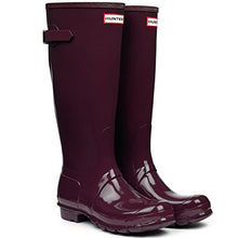 Hunter Womens Original Back Adjustable Gloss Black Rain Boot - 8