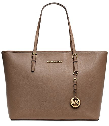 MICHAEL Michael Kors Jet Set Travel Top Zip Leather Tote in Dark Dune