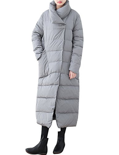 Zoulee Women's Winter High Collar Thick Long Down Jacket Warm Parkas Grey