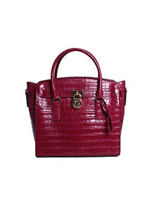 Michael Kors Hamilton Large East West Leather Satchel in Mulberry