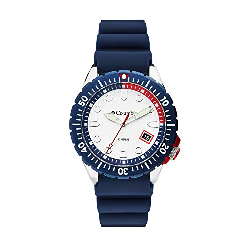 Columbia Pacific Outlander Stainless Steel Quartz Sport Watch with Silicone Strap, Navy, 12 (Model: CSC04-003)