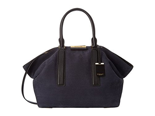 Michael Kors Lexi Large East/West Satchel French Grained Nubuck, Navy/Black