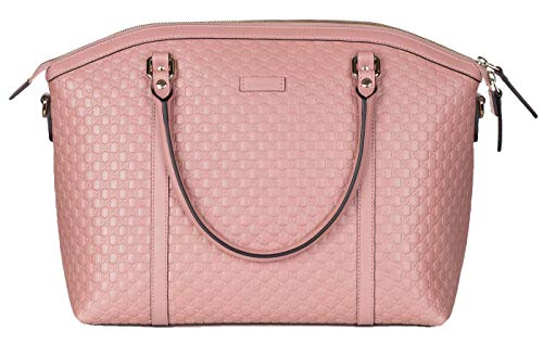 Gucci Soft Pink Leather GG Guccissima Signature Tote Satchel Bag