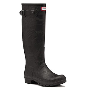 Hunter Womens Original Tall Wave Textured Winter Waterproof Wellingtons - Black - 6