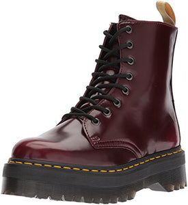 Dr. Martens Women's V Jadon II Fashion Boot, Cherry Red Cambridge Brush, 8 Medium UK (10 US)