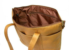 Le Donne Leather Double Strap Med Pocket Tote (Tan)