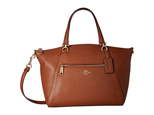 COACH Women's Pebbled Prairie Satchel Li/1941 Saddle One Size