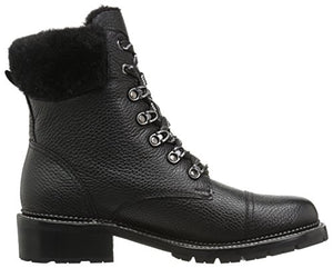 FRYE Women's Samantha Hiker Combat Boot, Black Waxed Pebbled Leather/Shearling, 7 M US