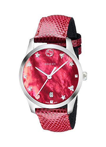 Gucci G-Timeless Cherry Red Mother of Pearl Dial Ladies Leather Watch YA1264041