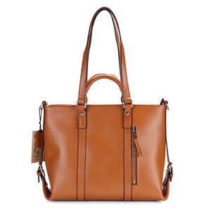 Kattee Urban Style 3-Way Women's Genuine Leather Shoulder Tote Bag, Orange