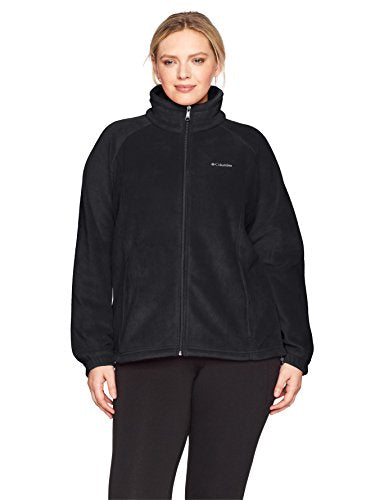 Columbia Women's Plus Sizetested Tough in Pink Benton Springs Fz Size Tested Full Zip Jacket, Black, 1X
