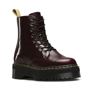 Dr. Martens Women's V Jadon II Fashion Boot, Cherry Red Cambridge Brush, 10 Medium UK (12 US)