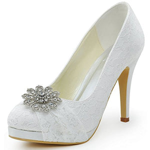 ElegantPark HC1413P Women Pumps Closed Toe Platform High Heel Buckle Lace Wedding Bridal Shoes White US 8