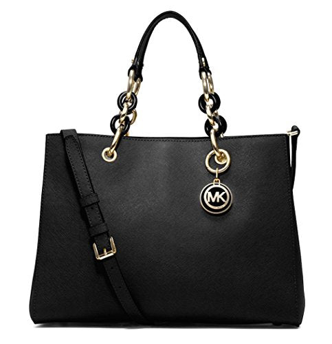 Michael Kors Cynthia Medium Leather Satchel in Black