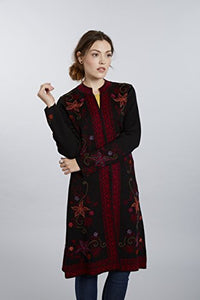 Invisible World Women's Baby Alpaca Hand Embroidered Sweater Coat Ottoman XL