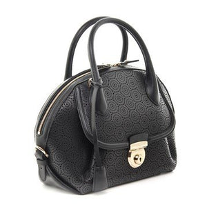 Salvatore Ferragamo Fiama Medium Laser-cut New Leather Handbag Black