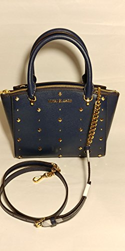 MICHAEL Michael Kors Women's ELLIS Small Satchel Studded Leather handbag (Navy)