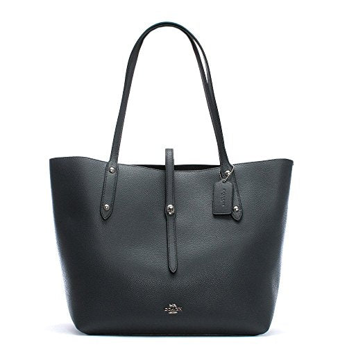 COACH Women's Polished Pebbled Leather Market Tote Sv/Midnight Navy One Size