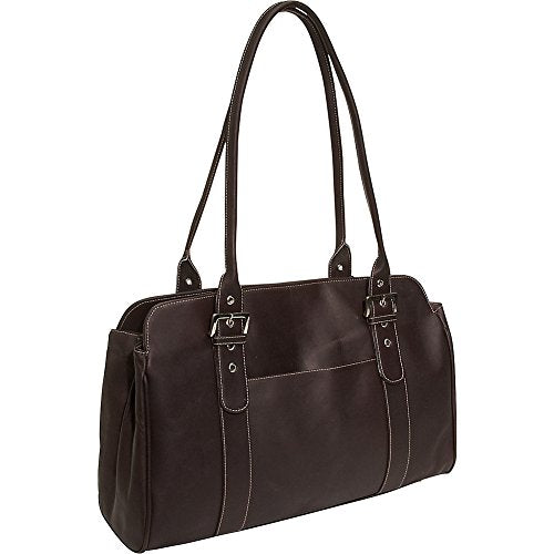 Piel Leather Ladies Buckle Business Tote, Chocolate, One Size