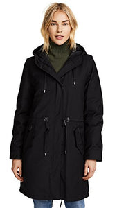 Mackage Women's Renina 2-in-1 Hooded Waterproof Trench, Black, L
