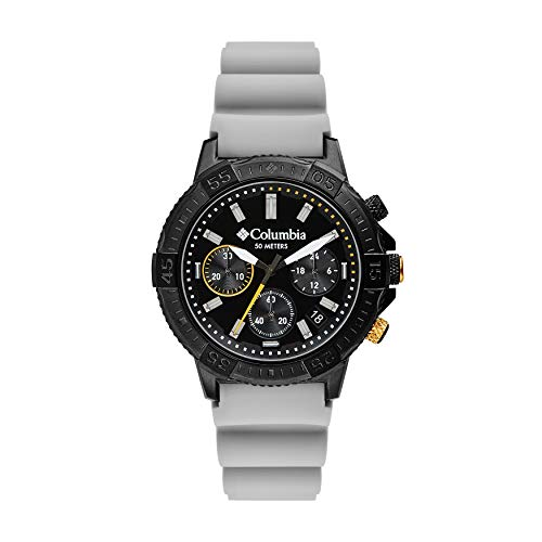 Columbia Peak Patrol Stainless Steel Quartz Sport Watch with Silicone Strap, Gray, 13 (Model: CSC03-005)