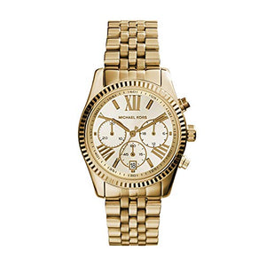 Michael Kors Womens Lexington Gold-Tone Stainless Steel Chronograph Watch