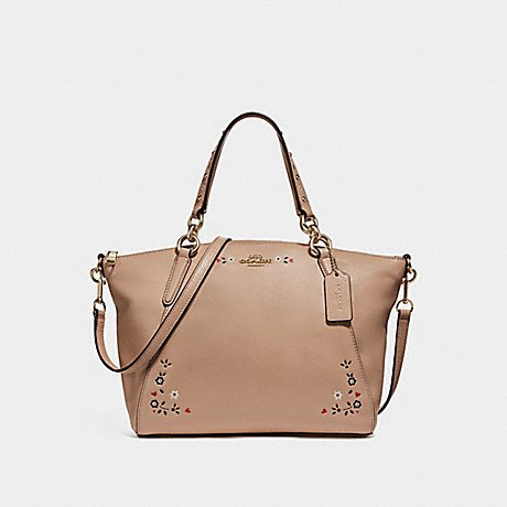 COACH SMALL KELSEY SATCHEL WITH FLORAL TOOLING F24599, NUDE PINK/LIGHT GOLD