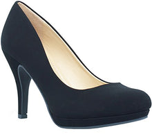 Marco Republic Rome Memory Foam Cushion Womens Low Platform Heels Comfort Pumps - (Black Nubuck) - 9