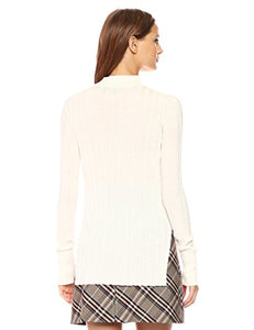 Theory Women's Wide Rib Mock PO Top, Ivory, M
