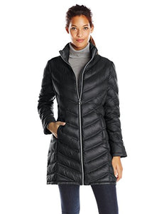Calvin Klein Women's Chevron Packable Down Coat, Black, Medium