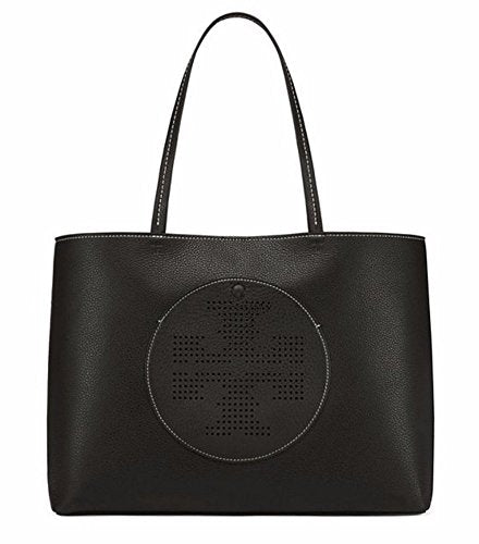 Tory Burch Perforated Pebbled Leather Double T Tote (Black/Lt Oak)