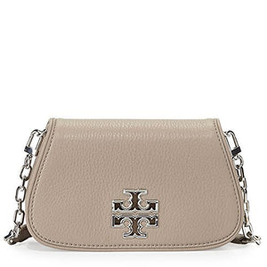 Tory Burch Britten Mini Crossbody Bag Leather TB Logo (French Gray)