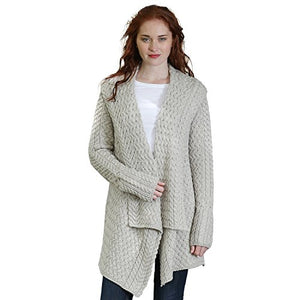 Glenross 100% Irish Merino Wool Ladies Aran Waterfall Sweater(Large Silver)