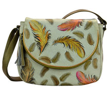 Anuschka Handpainted Leather Flap-Over Convertible, I-Floating Feathers Ivory