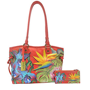 Anuschka Handpainted Leather Large Drawstring Shopper, Island Escape