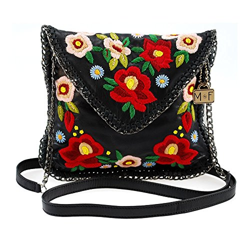 MARY FRANCES Budding Prospect Floral Embroidered Leather Mini Handbag with Chain Woven Edges