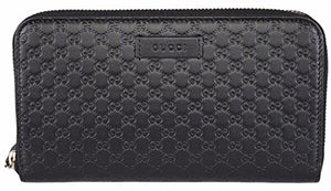Gucci Women's Leather Micro GG Guccissima Zip Around Wallet (Black)