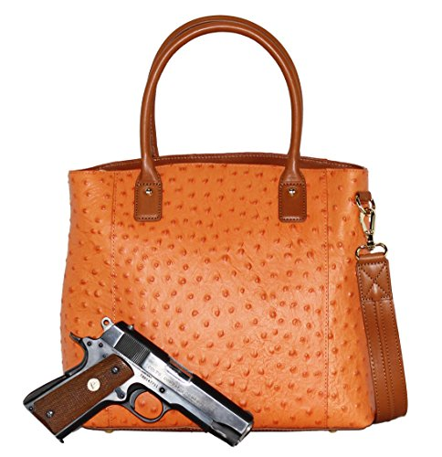 Concealed Carry Purse - Concealment Ostrich Town Tote - Left and Righthand Draw - CCW - by Gun Tote'n Mamas (Orange)