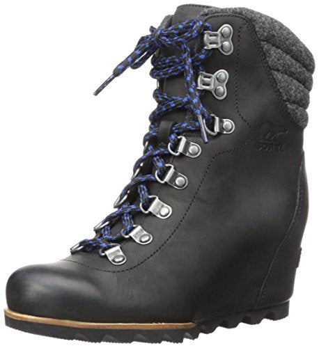 SOREL Women's Conquest Wedge Mid Calf Boot, Black, 10 M US