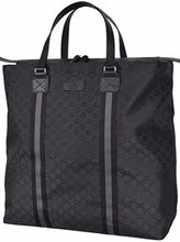 Gucci Nylon GG Guccissima Web Trim XL Zip Close Tote Bag (Black/449179)