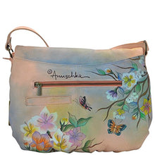 Anuschka Handpainted Leather Large Flap-Over Convertible, Japanese Garden