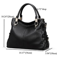 Kattee Women's Urban Style Genuine Leather Tote Satchel Shoulder Handbag Black