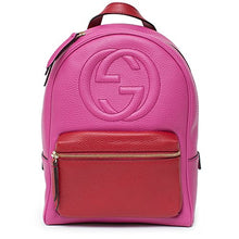 Gucci Soho Backpack Bag Leather Pink Rosette Hibiscus Red Shoulder Italy New