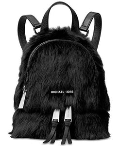 MICHAEL Michael Kors Womens Shearling Leather trim Backpack Black Small