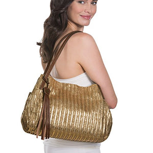 Eric Javits Luxury Fashion Designer Women's Handbag - Aura - Gold